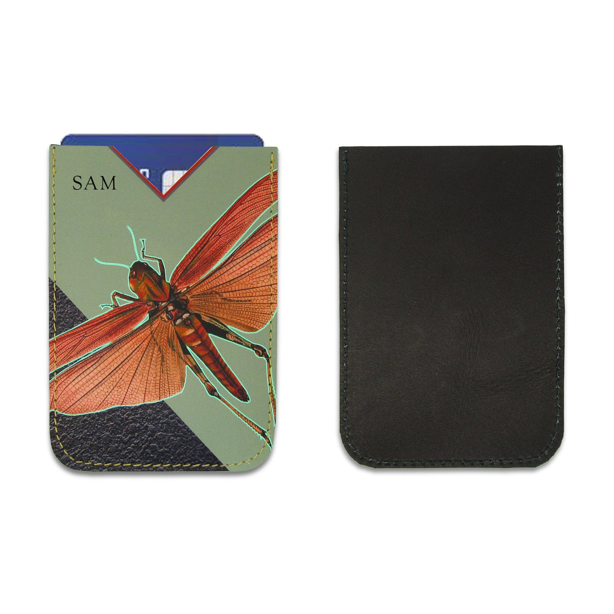 Leather Card Holder / Phone Sticker Wallet Pocket - Locust Wallet Tovi Sorga Standard Card Holder With personalisation Green