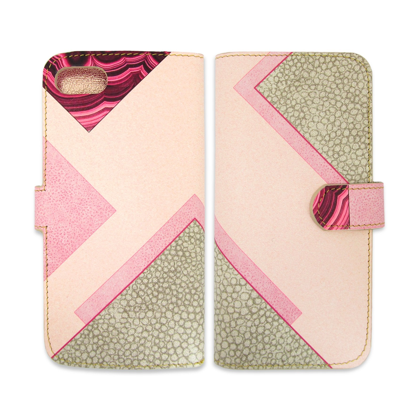 Geometric flip case - Woman's phone case - pink and gray phone case - marble effect - Leather Wallet Phone Case - Geometric printed phone wallet -