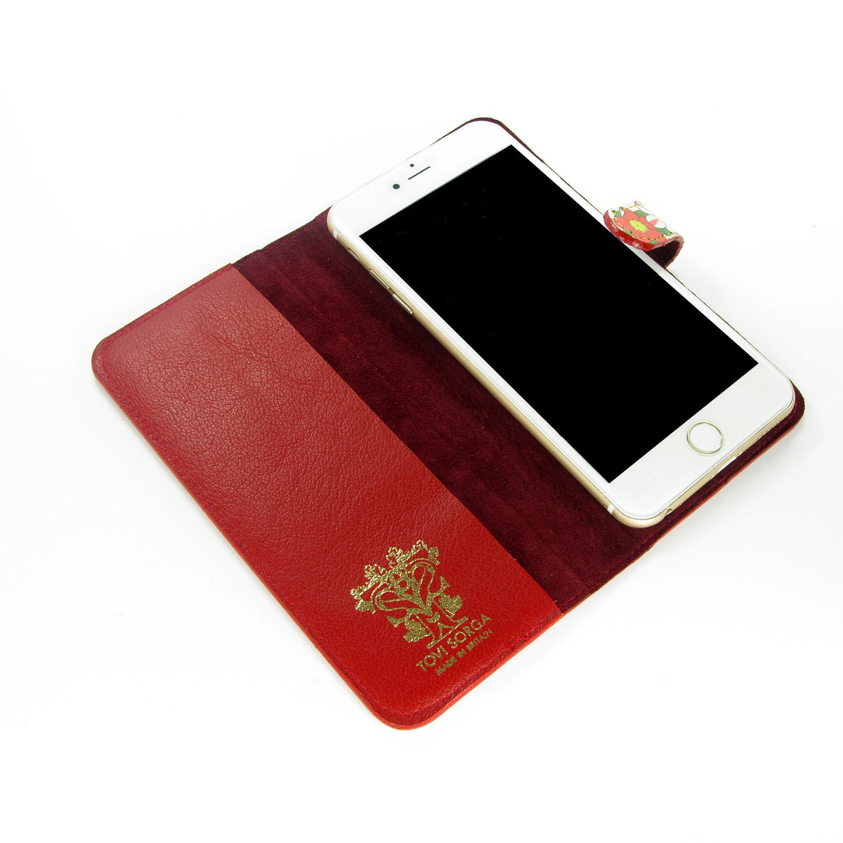 Luxurious red leather phone case - Smart Samsung phone case – unique – one of a kind phone case - magnetic clasped phone case -