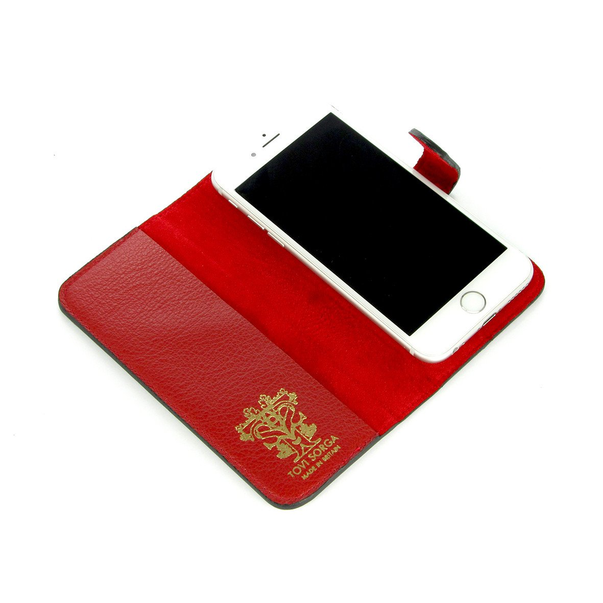 iPhone 11 Pro Max - Red Leather phone case - Folio Phone Case - A Dutch Spring - Lined phone case - Tovi Sorga - Rachel Rusch