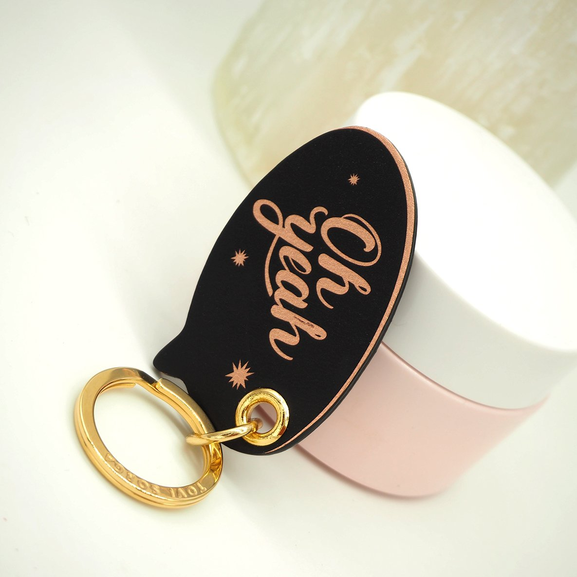 Leather Contactless Payment Key Charm - Oh Yeah! Tovi Sorga Rose Gold