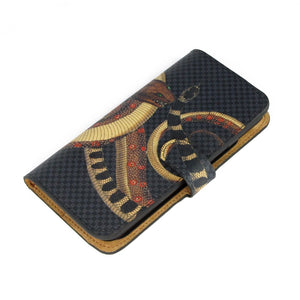 Snake iPhone XS Max leather phone case. Reptile print phone case. Folio wallet designer flip phone case by Tovi Sorga.