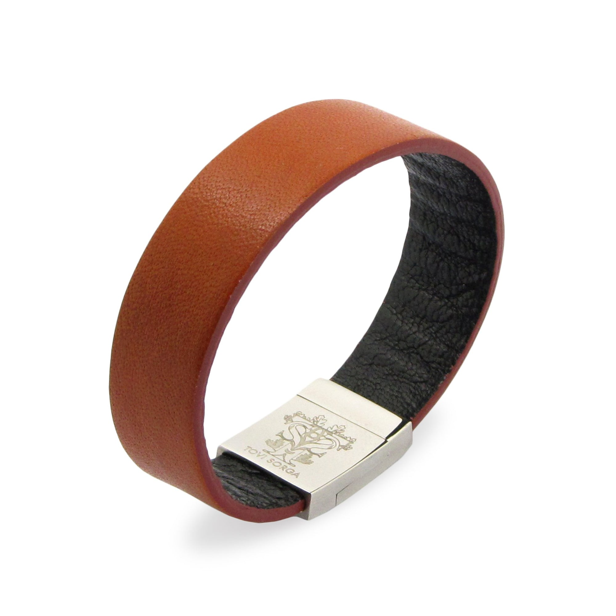 Leather Contactless Payment Bracelet: Tan on Black Contactless Payment Bracelet Tovi Sorga Extra-Small Brown