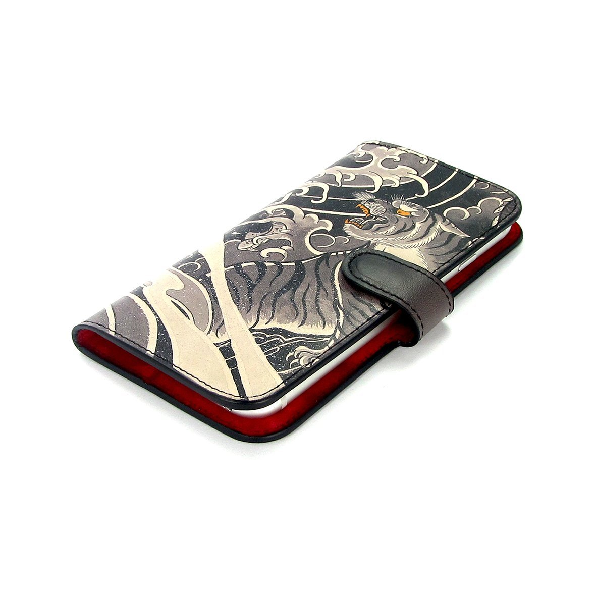 Leather Wallet Phone Case - Tiger and Dragon Tattoo Phone case Tovi Sorga iPhone XR No personalisation Black