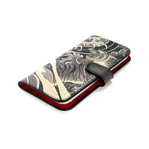 Leather Wallet Phone Case - Tiger and Dragon Tattoo