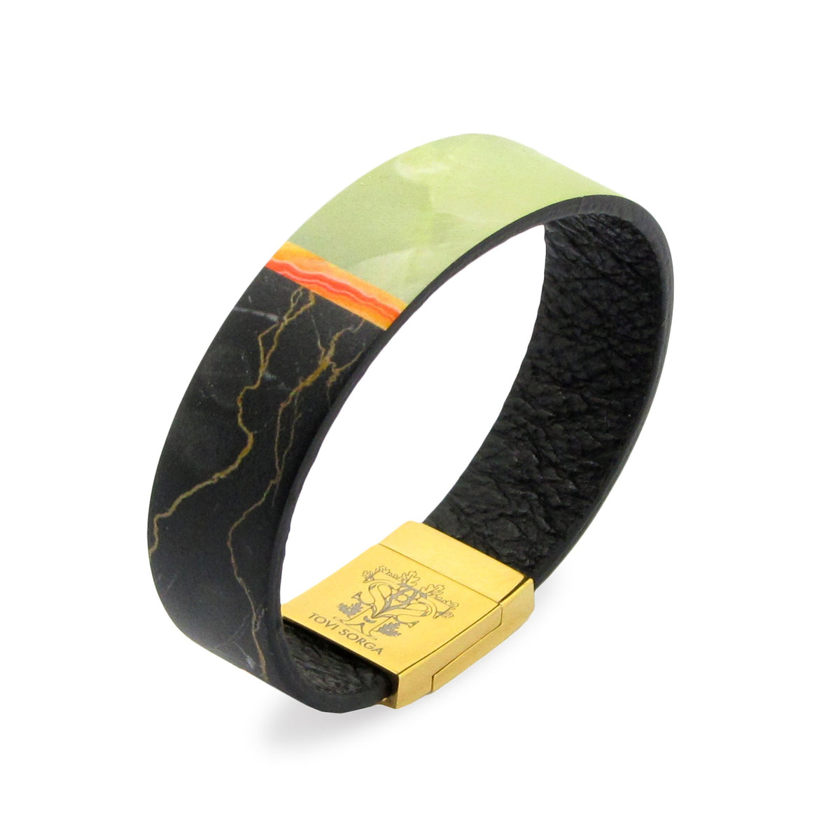 Leather Contactless Payment Bracelet: Black Jade Contactless Payment Bracelet Tovi Sorga Extra-Small Black