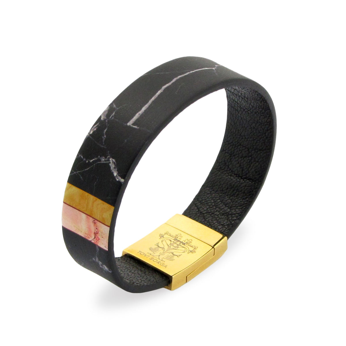 Leather Contactless Payment Bracelet: Black Marble Contactless Payment Bracelet Tovi Sorga Extra-Small Black