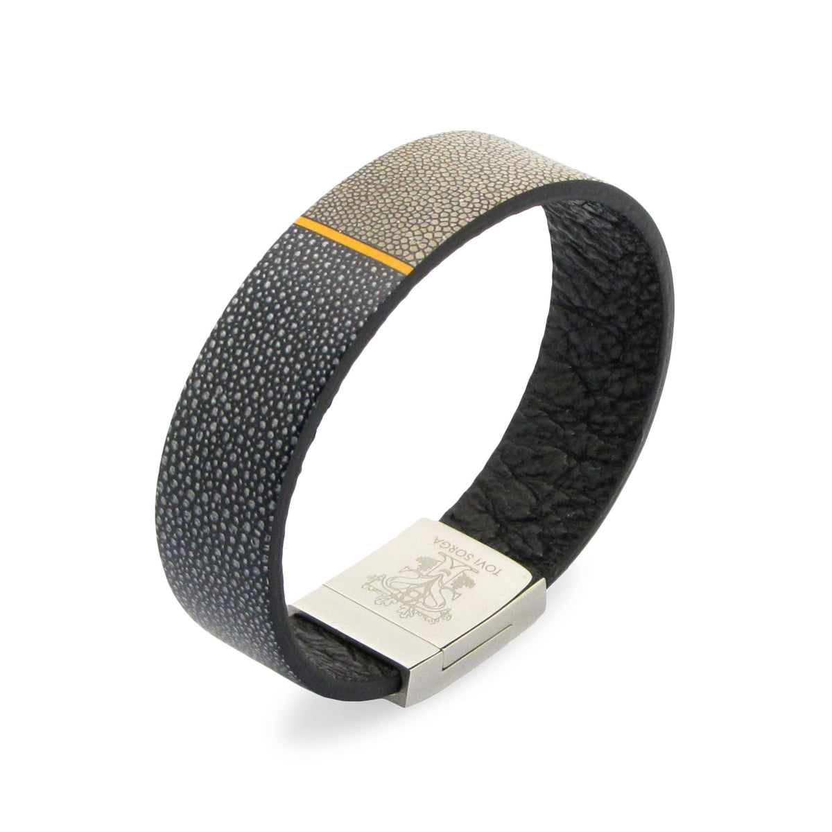 Leather Contactless Payment Bracelet: Ray Skin Contactless Payment Bracelet Tovi Sorga Extra-Small Grey