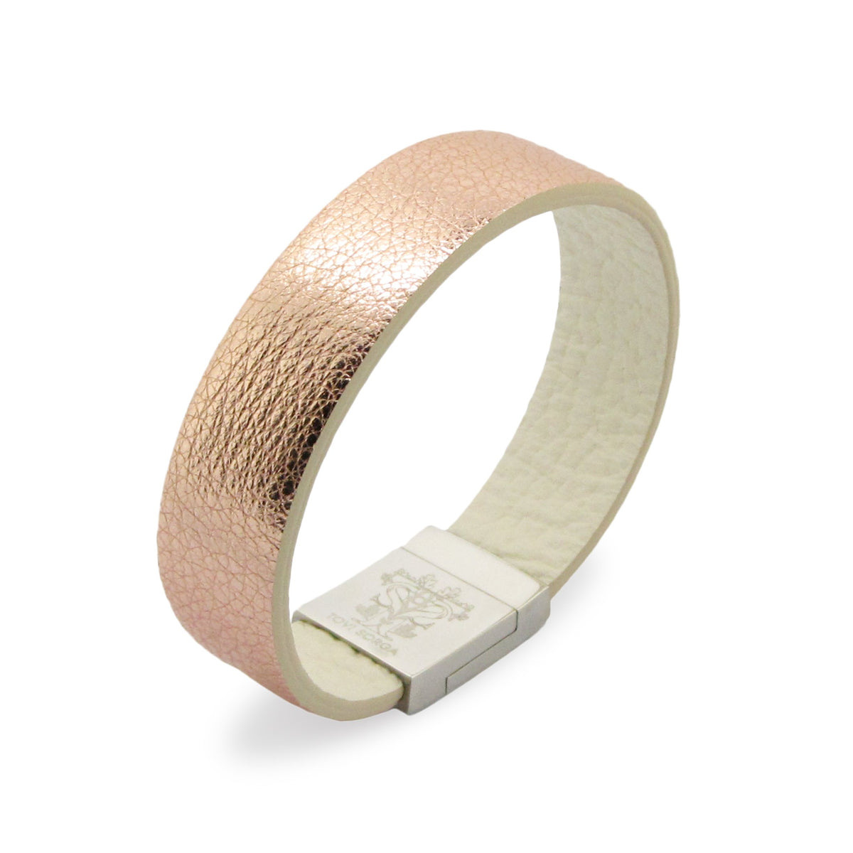Leather Contactless Payment Bracelet: Plain Metallic Gold / Rose Gold Contactless Payment Bracelet Tovi Sorga Extra-Small Rose Gold