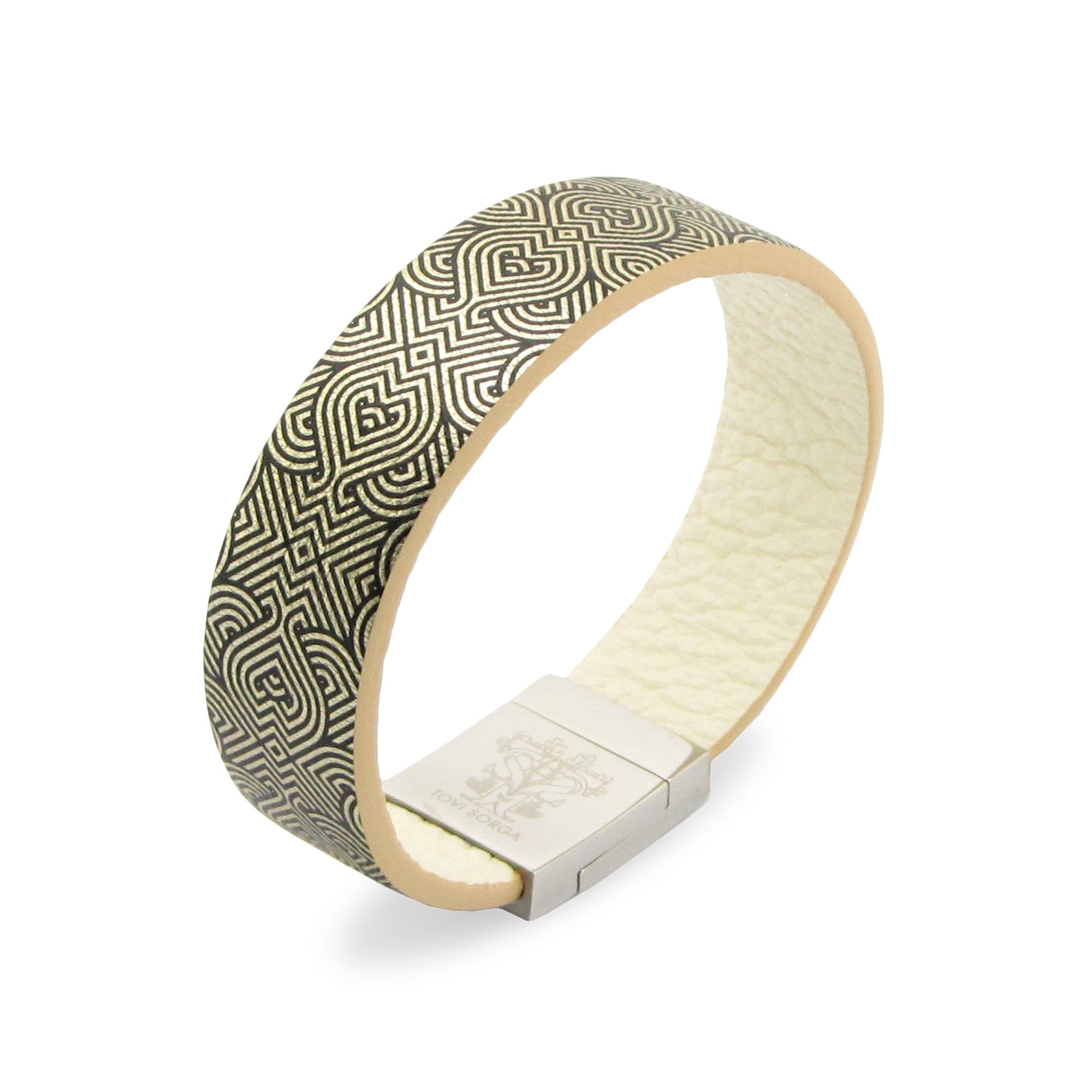 Leather Contactless Payment Bracelet: String of Hearts Contactless Payment Bracelet Tovi Sorga Extra-Small Pale Gold