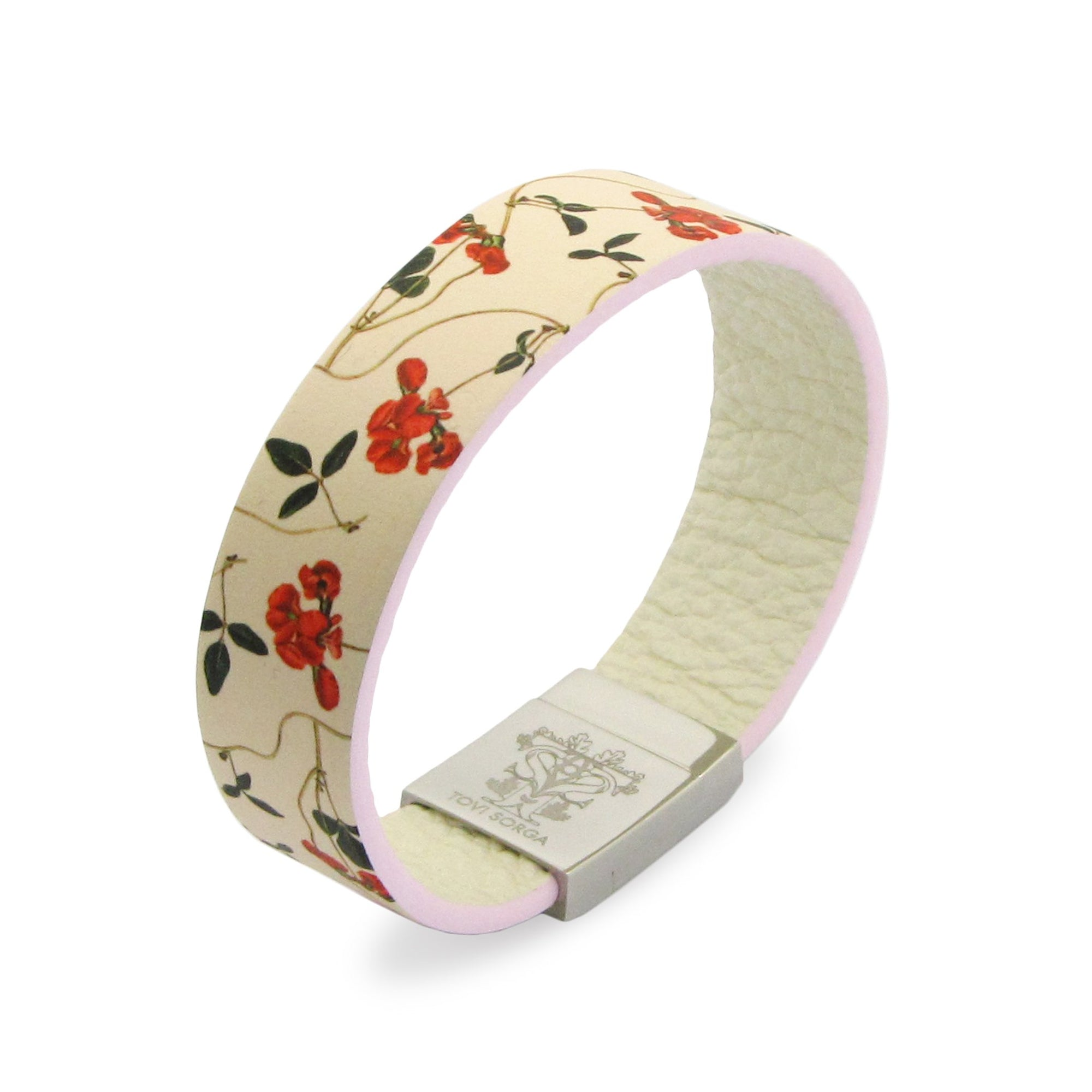 Leather Contactless Payment Bracelet: Sweet Pea