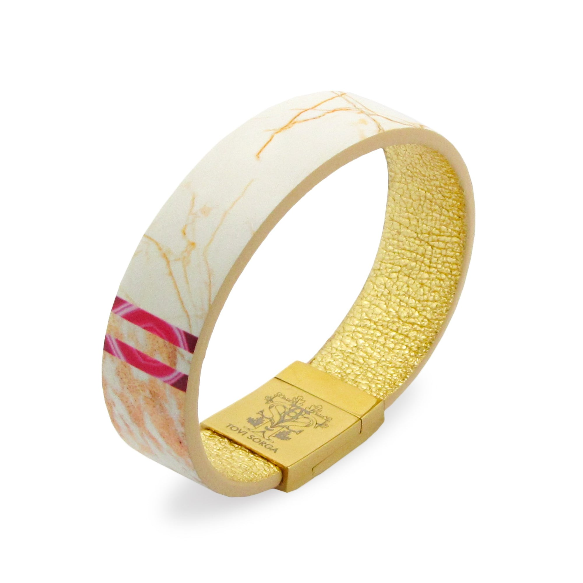 Leather Contactless Payment Bracelet: White Marble