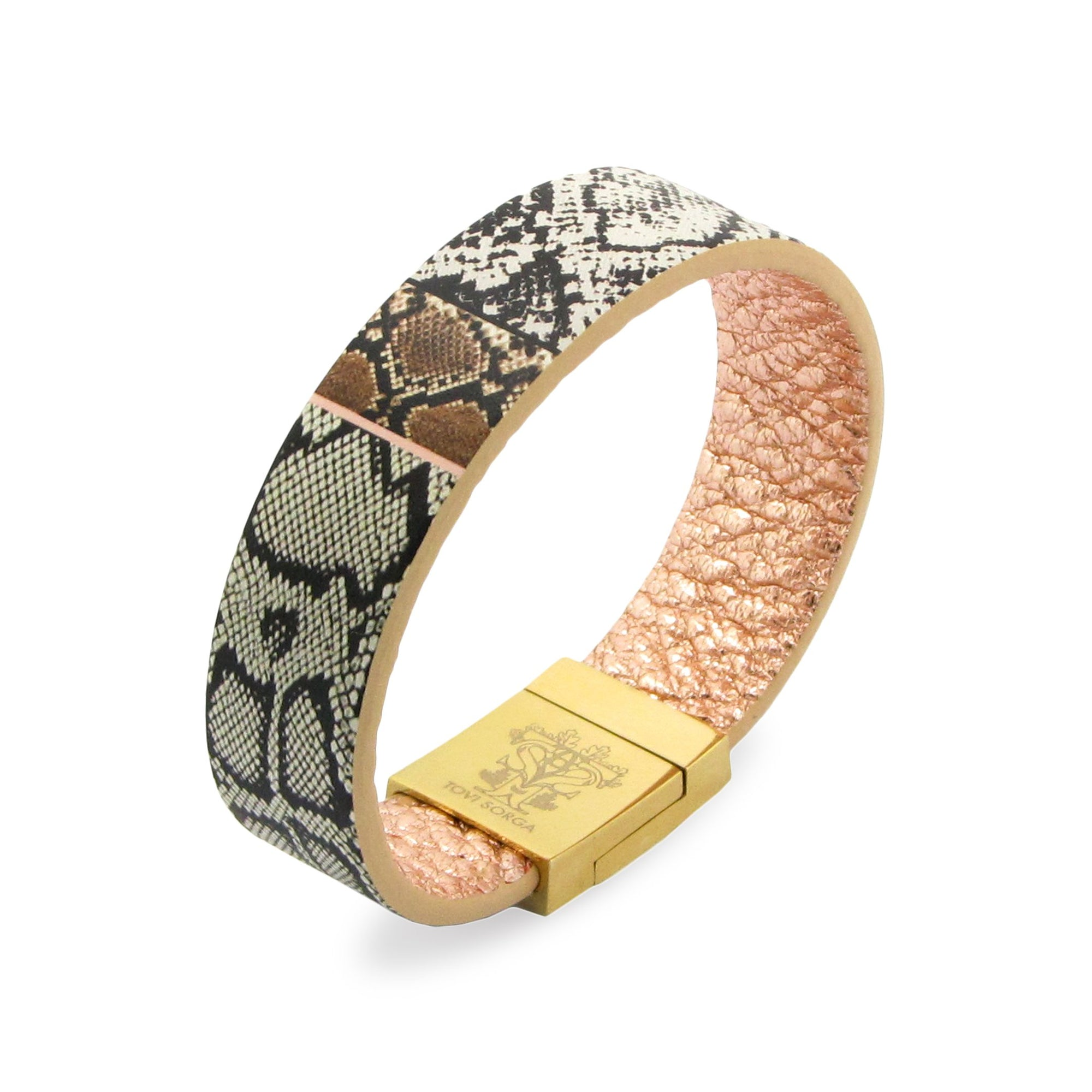 Leather Contactless Payment Bracelet: White Snake Contactless Payment Bracelet Tovi Sorga Extra-Small Grey