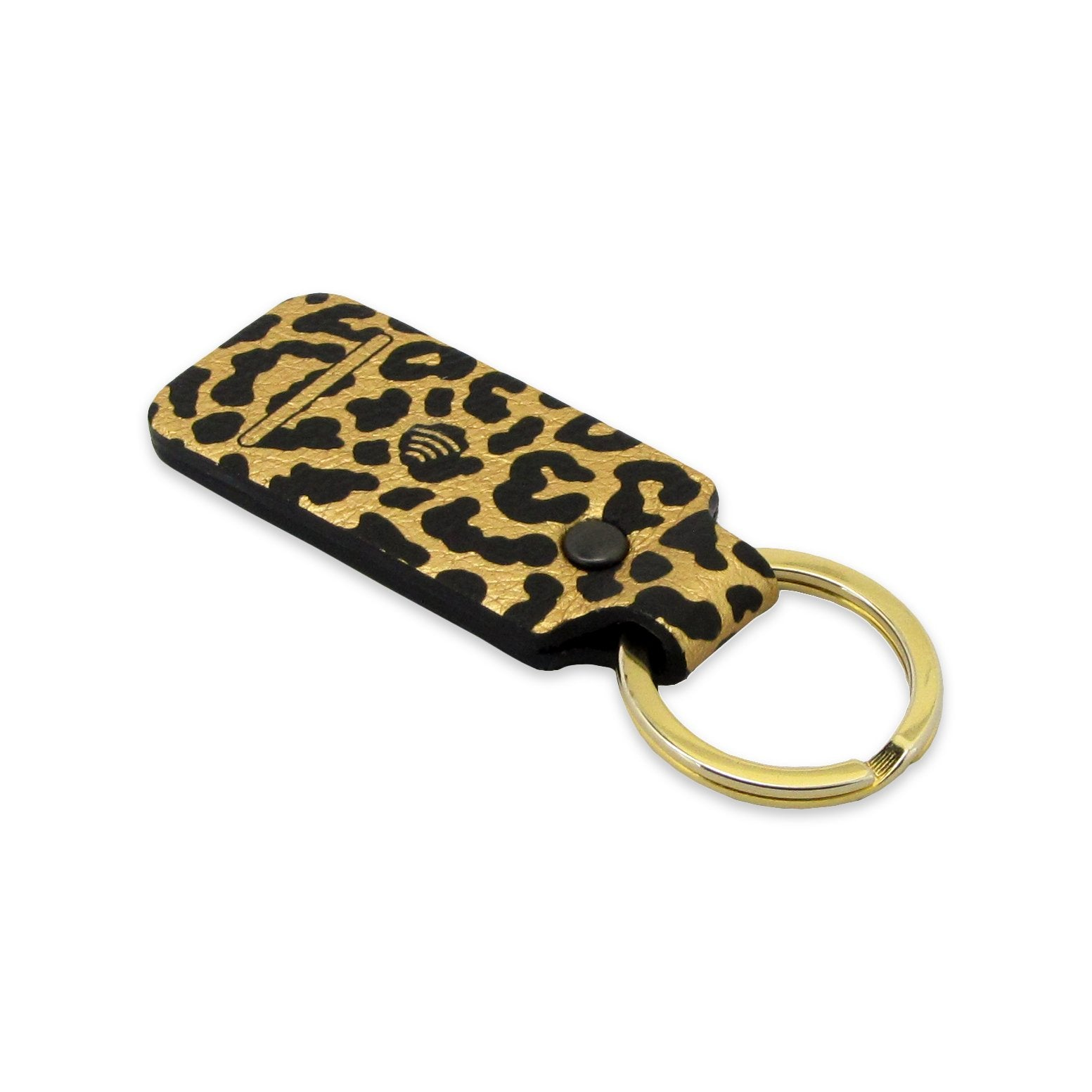 Black and Gold leopard printed gadget for women by Tovi Sorga - Leather gifts made in the UK with new easy contactless payment using the Pingit App