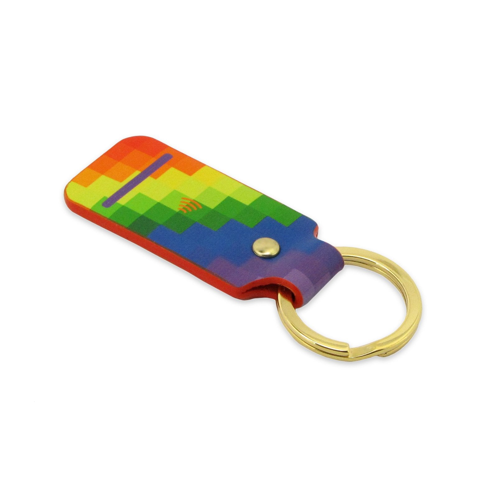 Leather NFC contactless payment key ring device made out of leather in a multicolour geometric pattern - A pingit payment device Key fob with Rainbow patterned for the NHS by Tovi Sorga