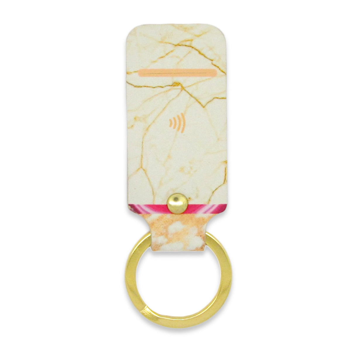 Leather Contactless Payment Key Fob - White Marble Tovi Sorga With Contactless Payment Chip white