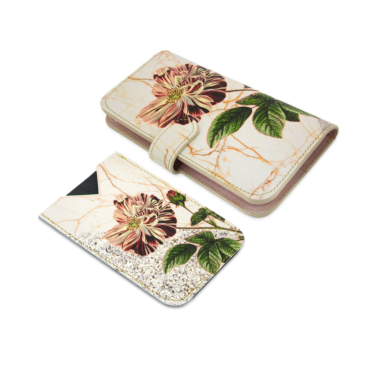 Leather Card Holder / Phone Sticker Wallet Pocket - Wild Rose Wallet Tovi Sorga