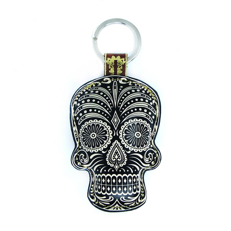 Leather Sugar Skull Key Chain / Key Ring - Black Skull - Tovi Sorga  - 1