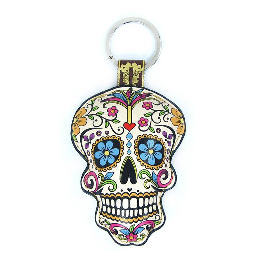 Leather Sugar Skull Key Chain / Key Ring - Flowers - Tovi Sorga  - 1