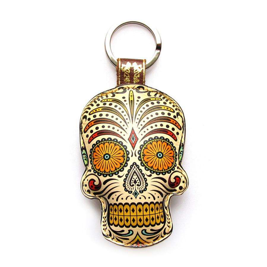 Leather Sugar Skull Key Chain / Key Ring - Third Eye Key Ring / Bag Charm Tovi Sorga Orange