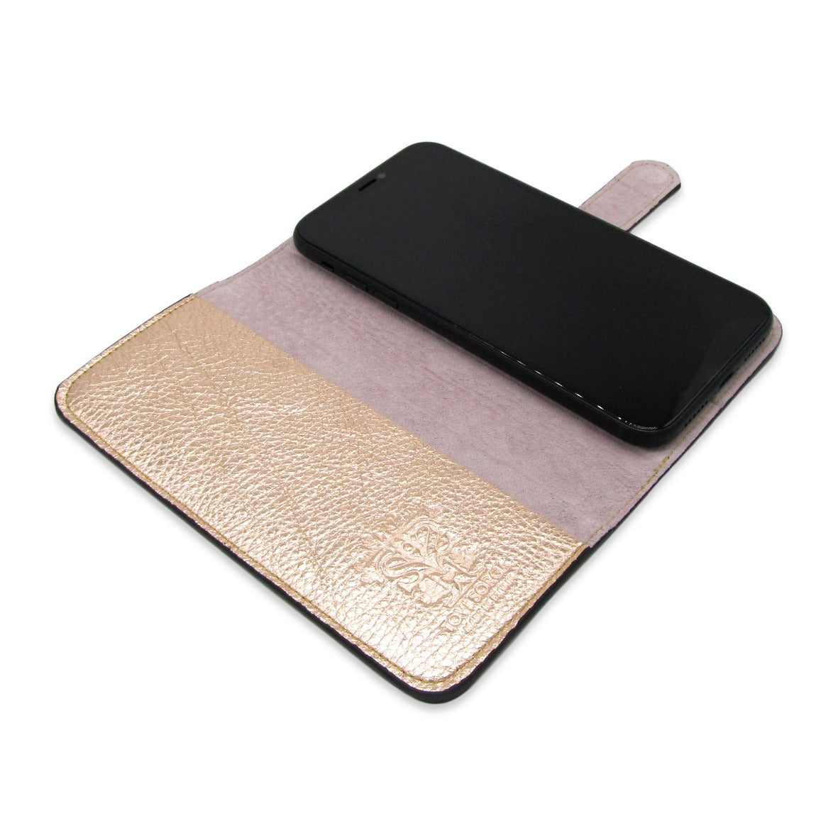 iphone 11 pro leather case - pink lined - gold - bifold cell phone case