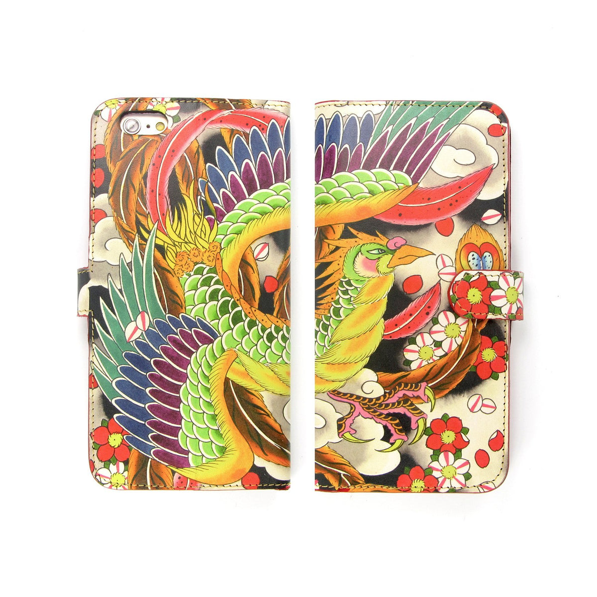 Phone case with card holder - Phoenix Tattoo phone case - Bight fun phone case - Tattoo phone case - Japanese pictured phone case -  iphone 11 pro max flip case
