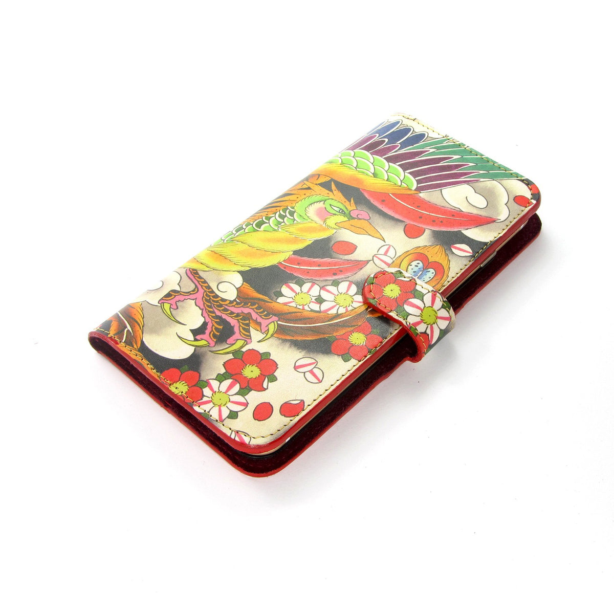 Multi coloured printed leather phone case - brightly feathered bird - leather phone Case - iphone x Phoenix Tattoo case - Bird printed phone case -