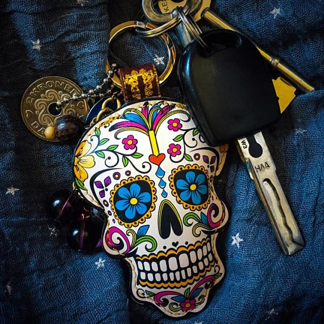 Leather Sugar Skull Key Chain / Key Ring - Flowers