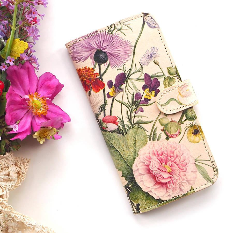 Wallet Folio Phone Case - Eco gifts - Eco friendly phone cases - Leather Gifts - Samsung cell case - wild meadow flowers printed phone case - Cream - Samsung s10e