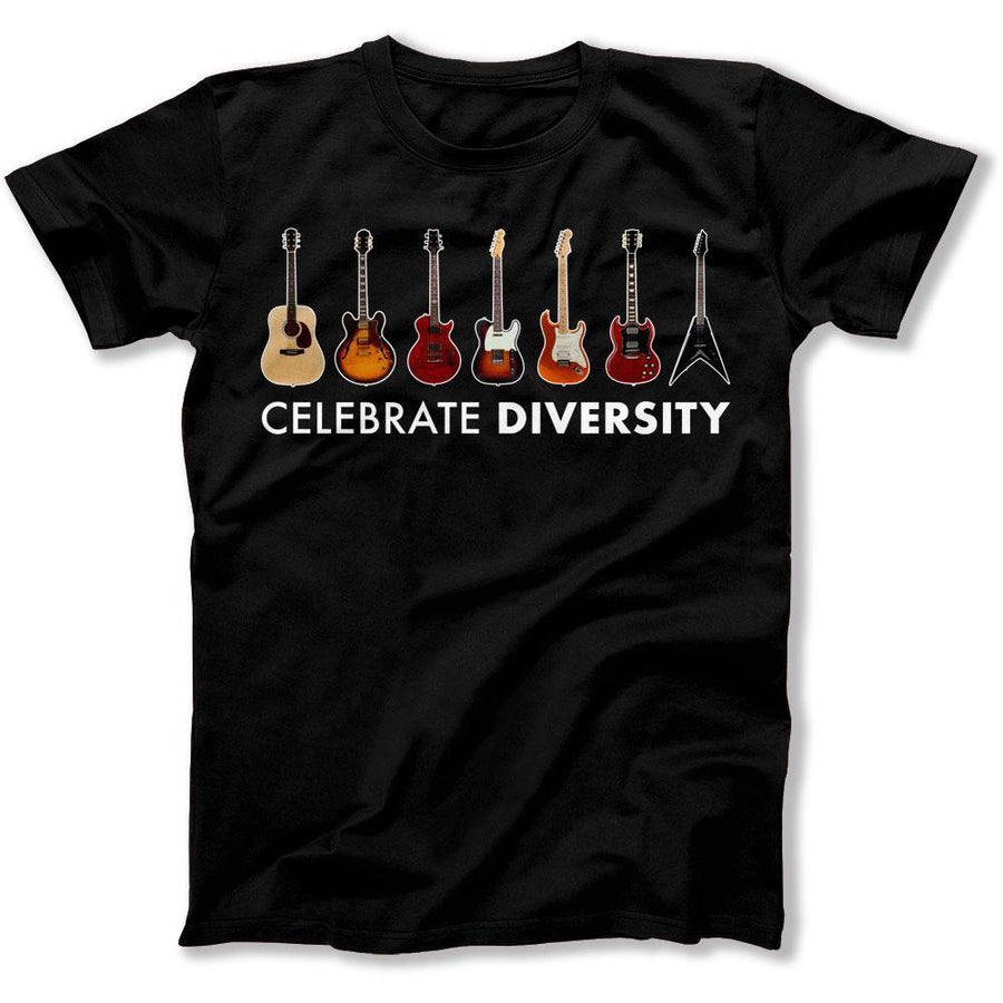 67324dc13 Celebrate Diversity - Guitar - Full Color - T Shirt