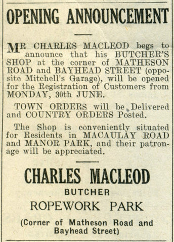 Opening advert for Charles Macleod Butcher