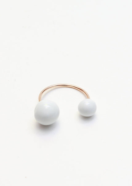 Porcelain Double Pearl Ring - Jujumade