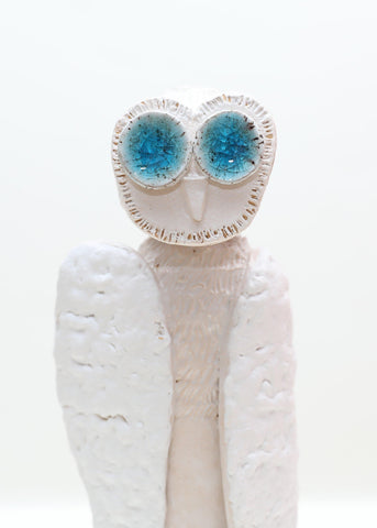 White Owl with Blue Glass Eyes - Jiki Jaku