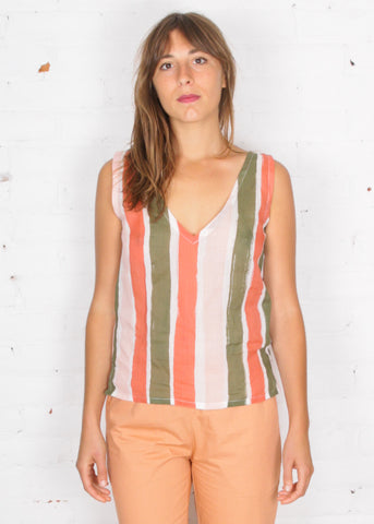 printed sheer reversible tank top