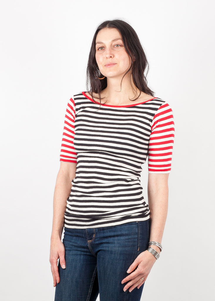 Boatneck - Mixed Black Natural and Red Wide Stripe