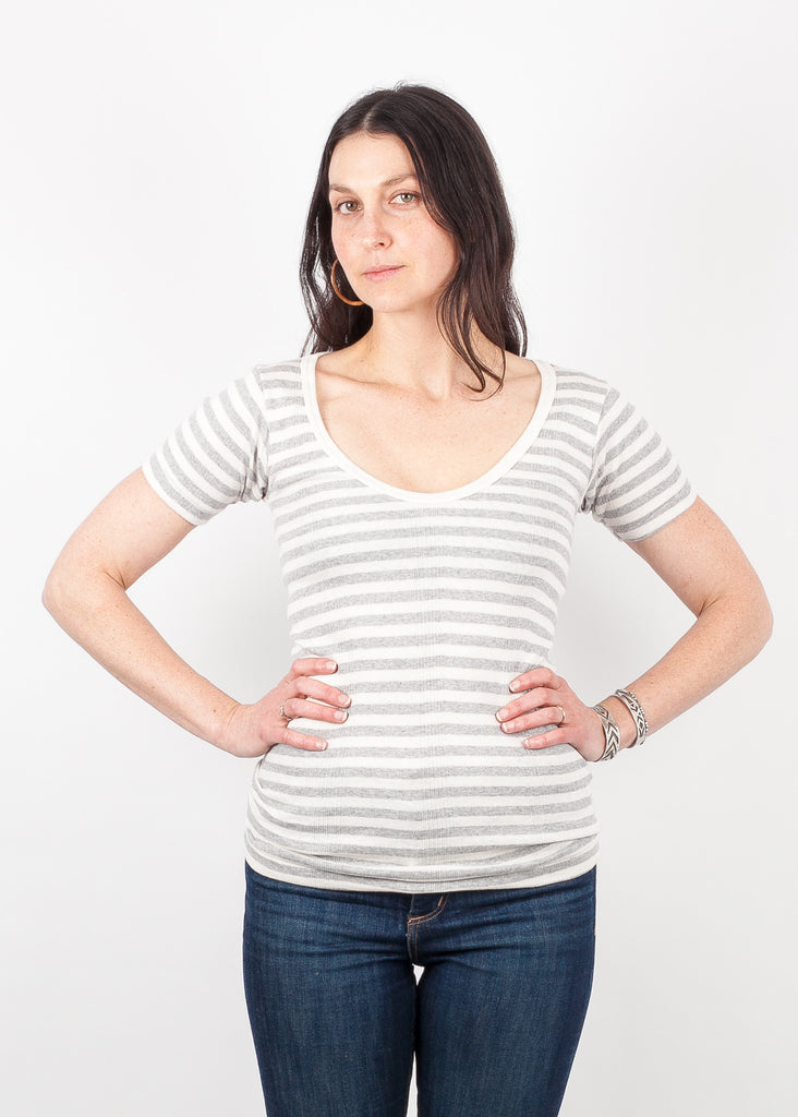 Short Sleeve Scoop - Grey and White Wide Stripe