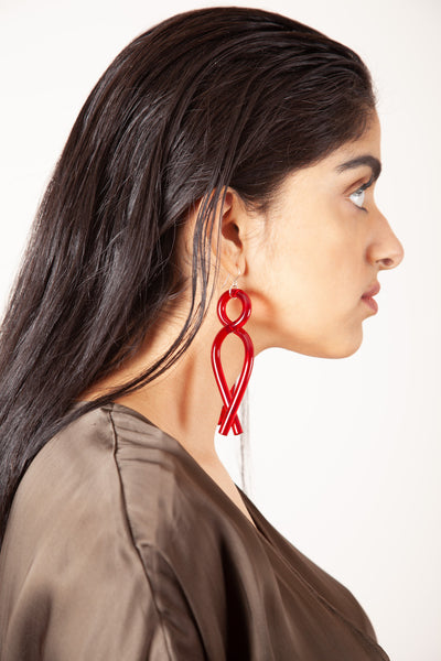 Twist Earrings - Red