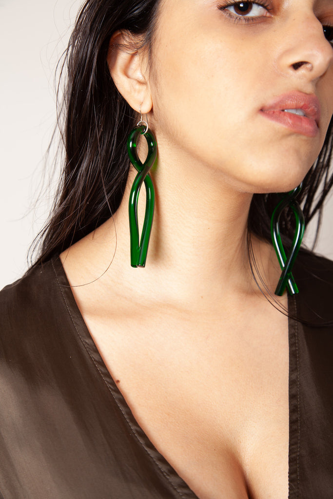 Twist Earrings - Green