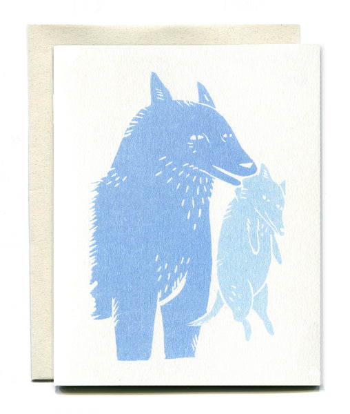 Wolf Mother Card - Light Blue