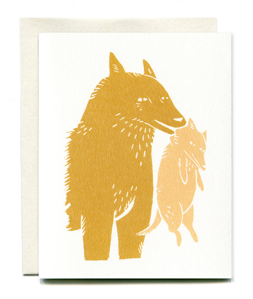Wolf Mother Card - Ochre