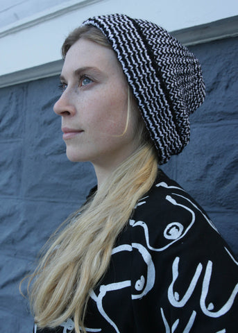 Striped Knit Hat - Black and white