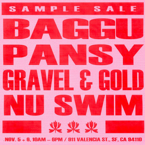 SAMPLE SALE with Gravel & Gold, Baggu, Pansy and NU SWIM