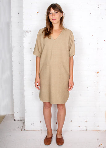 raw silk beige oversize shift dress tunic with reversible neckline from gravelandgold.com