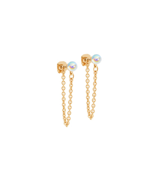 Crystal Ball Chain Ear Studs