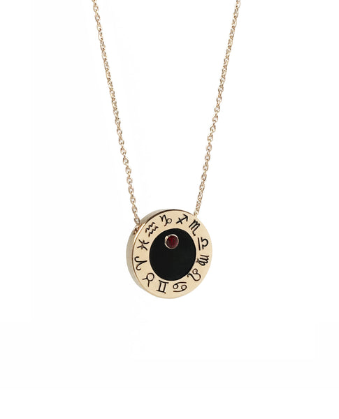 Capricorn Garnet Zodiac Birthstone Necklace