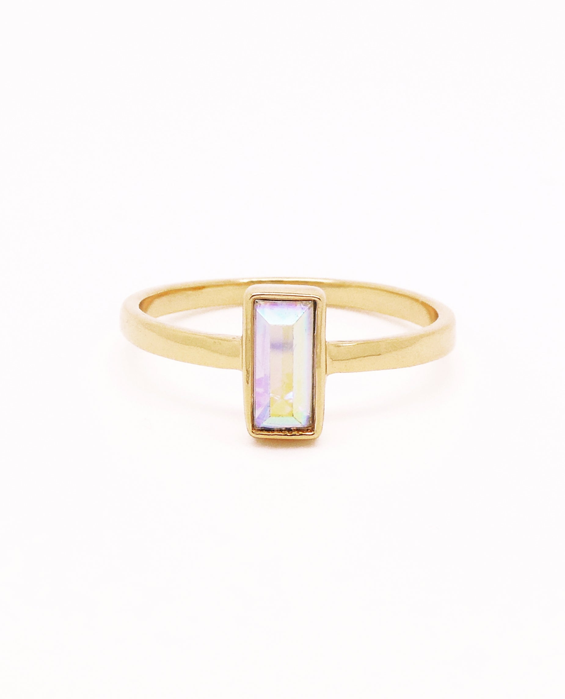 Iridescent Baguette Crystal Ring Gold