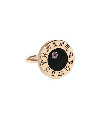 Aquarius Amethyst Zodiac Birthstone Ring