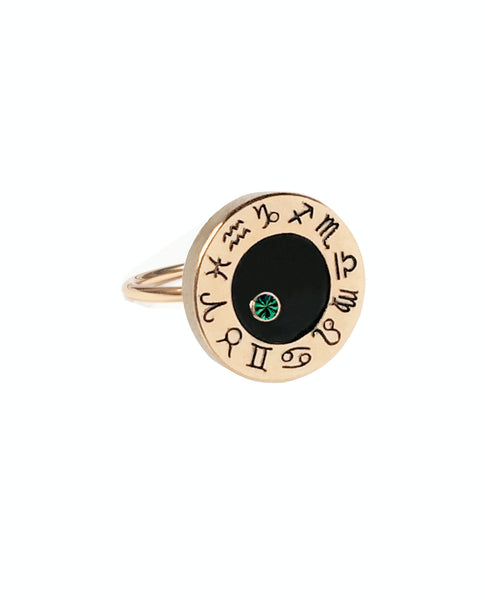 Taurus Emerald Zodiac Birthstone Ring