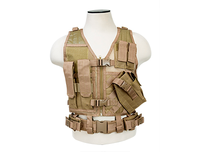 NC Star Cross Draw Tac Vest, Small, TAN