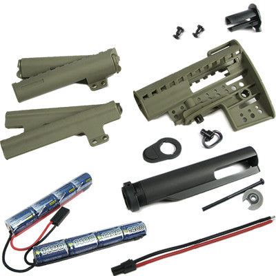 King Arms Carbine Clubfoot Stock with 9.6v 1400 battery DE